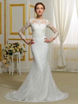 Charming Jewel Long Sleeves Lace Wedding Dress