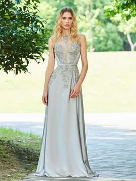 Cute A Line Applique Long Evening Dress With Sheer Back