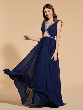 Cute A Line Deep Neck Long Prom Dress With Beadings