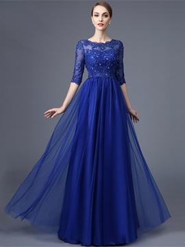 Cute A Line Half Sleeve Lace Beaded Long Evening Dress