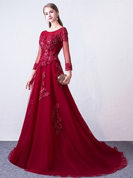 Cute A Line Long Sleeve Evening Dress With Applique