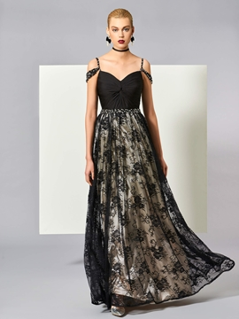 Cute A Line Off The Shoulder Straps Beaded Lace Floor Length Evening Dress