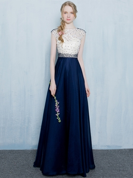 Cute A-Line Round Neck Beading Lace Long Evening Dress