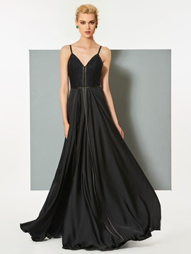 Cute A Line Spaghetti Straps Backless Long Evening Dress
