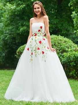 Cute A Line Strapless Applique Long Prom Dress