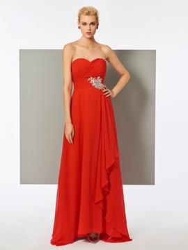 Cute A Line Sweetheart Beaded Pleats Long Evening Dress