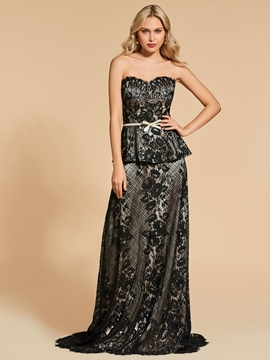 Cute A Line Sweetheart Lace Evening Dress With Sweep Train