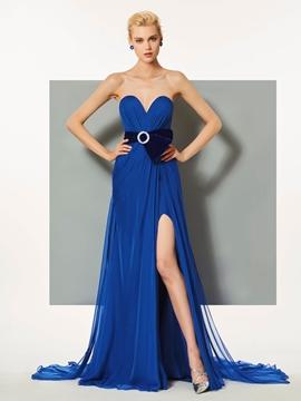 Cute A Line Sweetheart Side Slit Evening Dress With Watteau Train