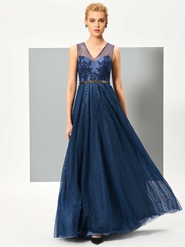 Cute A Line V Neck Applique Beaded Wastline Lace Evening Dress