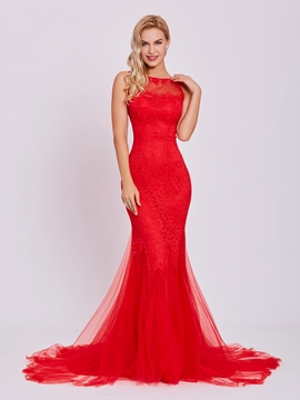 Cute Backless Lace Mermaid Evening Dress
