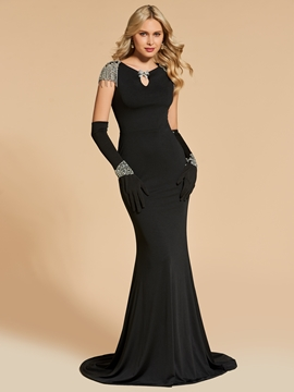 Cute Beaded Cap Sleeve Bateau Neck Mermaid Evening Dress With Gloves