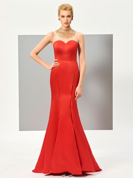 Cute Beaded Scoop Neck Button Back Floor Length Mermaid Evening Dress