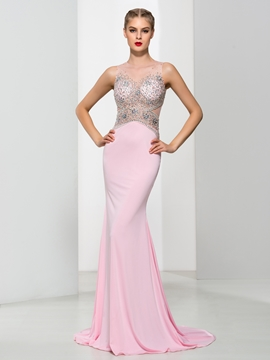 Cute Elegant Straps Beading Pearls Mermaid Evening Dress