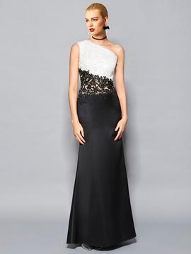 Cute Fancy Sheath One Shoulder Lace Applique Floor Length Evening Dress