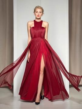 Cute Halter Pleats Front-Split Evening Dress