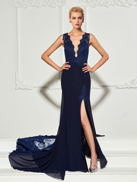 Cute Mermaid V Neck Applique Backless Evening Dress With Court Train