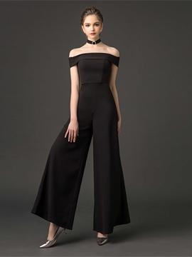 528972b93679 Cute Off The Shoulder Floor Length Black Prom Jumpsuit - Cute Dresses