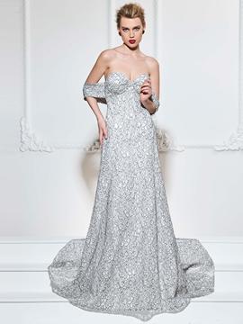 Cute Off The Shoulder Short Sleeve A Line Long Evening Dress