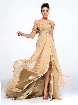 Cute One-shoulder Sequins Evening Dress