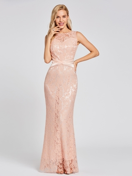 Cute Scoop Neck Mermaid Lace Evening Dress
