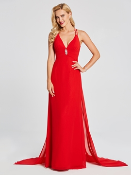 Cute Sexy Halter Spaghetti Straps Chiffon Long Evening Dress With Sweep Train
