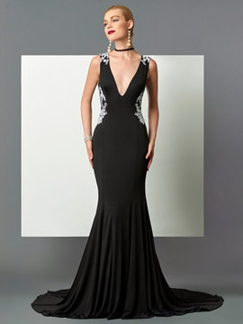 Cute Sexy V-Neck Mermaid Backless Evening Dress With Court Train