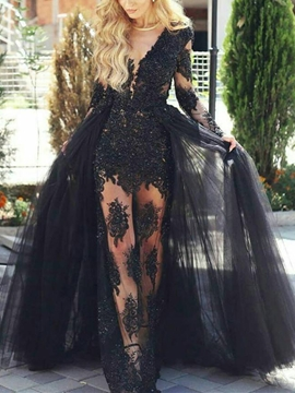 Cute Sheath Appliques Lace Long Sleeves Evening Dress With Detachable Train