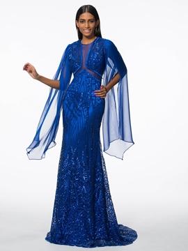Cute Sheath Jewel Long Sleeves Sequins Brush Train Evening Dress