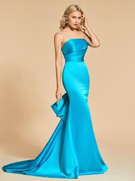 Cute Sheath Mermaid Strapless Long Evening Dress With Sweep Train