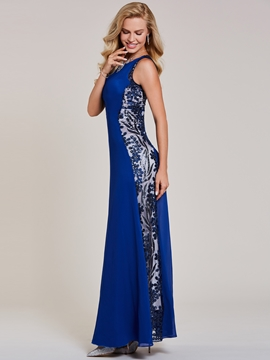 Cute Sheath Scoop Neck Sequins Evening Dress