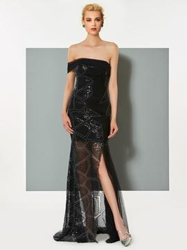 Cute Sheath Strapless Sequin Pleats Slit Evening Dress
