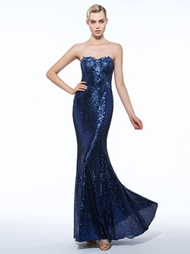 Cute Sheath Sweetheart Sequins Floor-Length Evening Dress