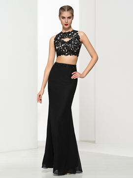 Cute Sheath Two Pieces Appliques Beaded Backless Evening Dress