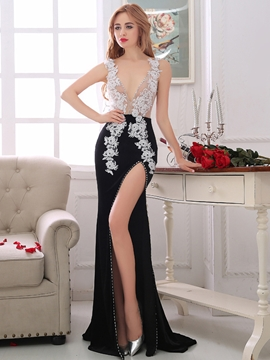 Cute Sheath V-Neck Appliques Crystal Court Train Evening Dress
