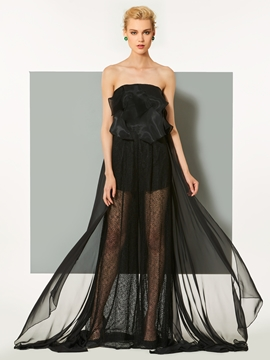 Cute Strapless Lace A-Line Ruffles Evening Dress With Court Train