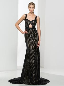 Cute Straps Hollow Sequins Sheath Evening Dress