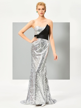 Cute Sweetheart Mermaid Sequins Pleats Court Train Evening Dress