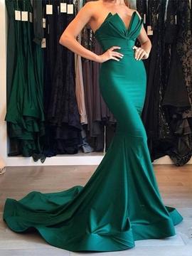 Cute Sweetheart Sleeveless Mermaid Evening Dress With Train