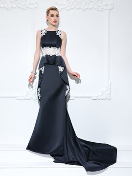 Cute Trumpet Straps Appliques Ruffles Court Train Evening Dress