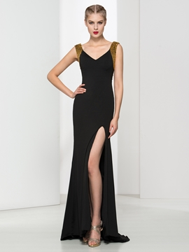 Cute V-Neck Beading Split-Front Evening Dress