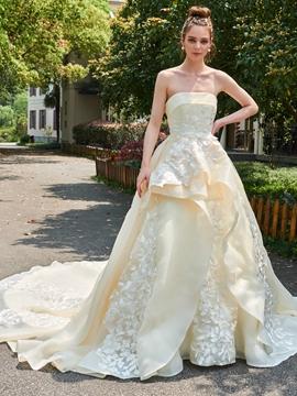 Floral Appliques Strapless Bateau Cathedral Train Wedding Dress