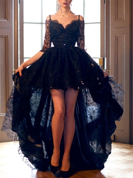 Half Sleeves High Low Black Lace Evening Dress