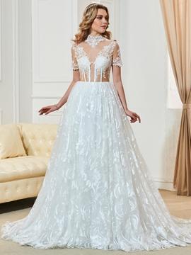 High Neckline Short Sleeves A Line Lace Wedding Dress