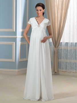 Pretty V Neck Short Sleeves Lace Chiffon Maternity Dress