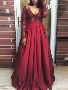 Sexy A Line Long Sleeve Deep V Neck Evening Gowns