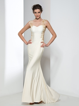 Sheath Appliques Beaded Evening Dress