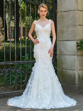 Spaghetti Straps Mermaid Lace Court Train Wedding Dress