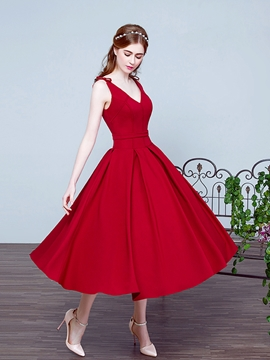 V-Neck Bowknot Tea-Length Prom Dress