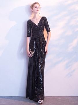 V Neck Sequin Half Sleeve Black Evening Dress