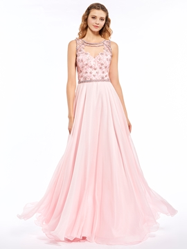 A Line Beaded Sheer Back Chiffon Floor Length Long Prom Dress